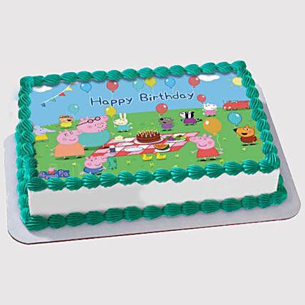 Awesome Peppa Pig Birthday Party Marble Photo Cake In Uae Gift Peppa Pig Funny Birthday Cards Online Hendilapandamsfinfo